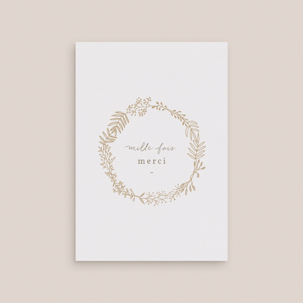 Carte de remerciement mariage Diadème Doré, 10,5 x 15 cm gratuit