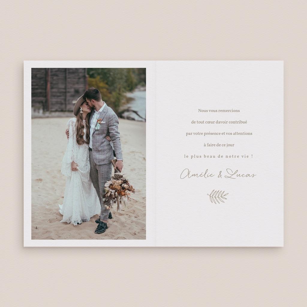 Carte de remerciement mariage Diadème Doré, 10,5 x 15 cm