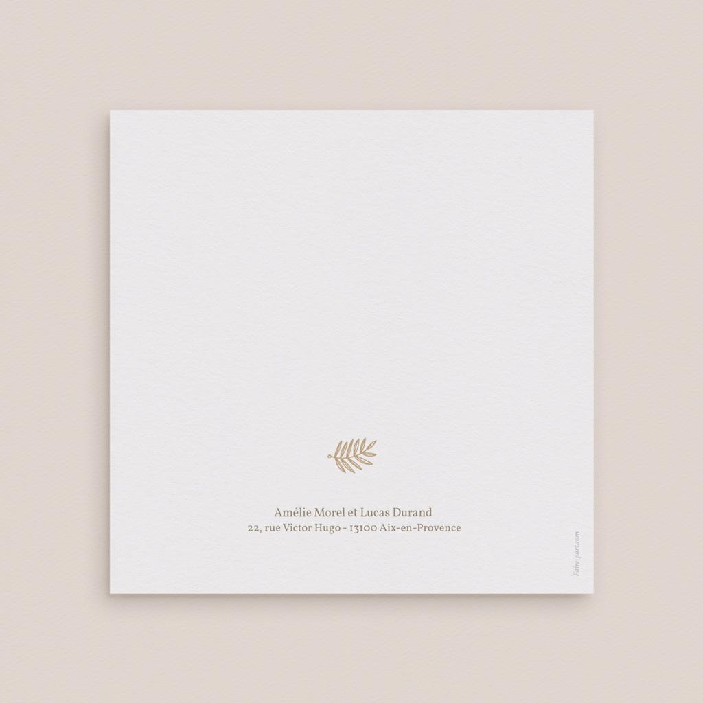Carte de remerciement mariage Diadème Doré, 14 x 14 cm gratuit