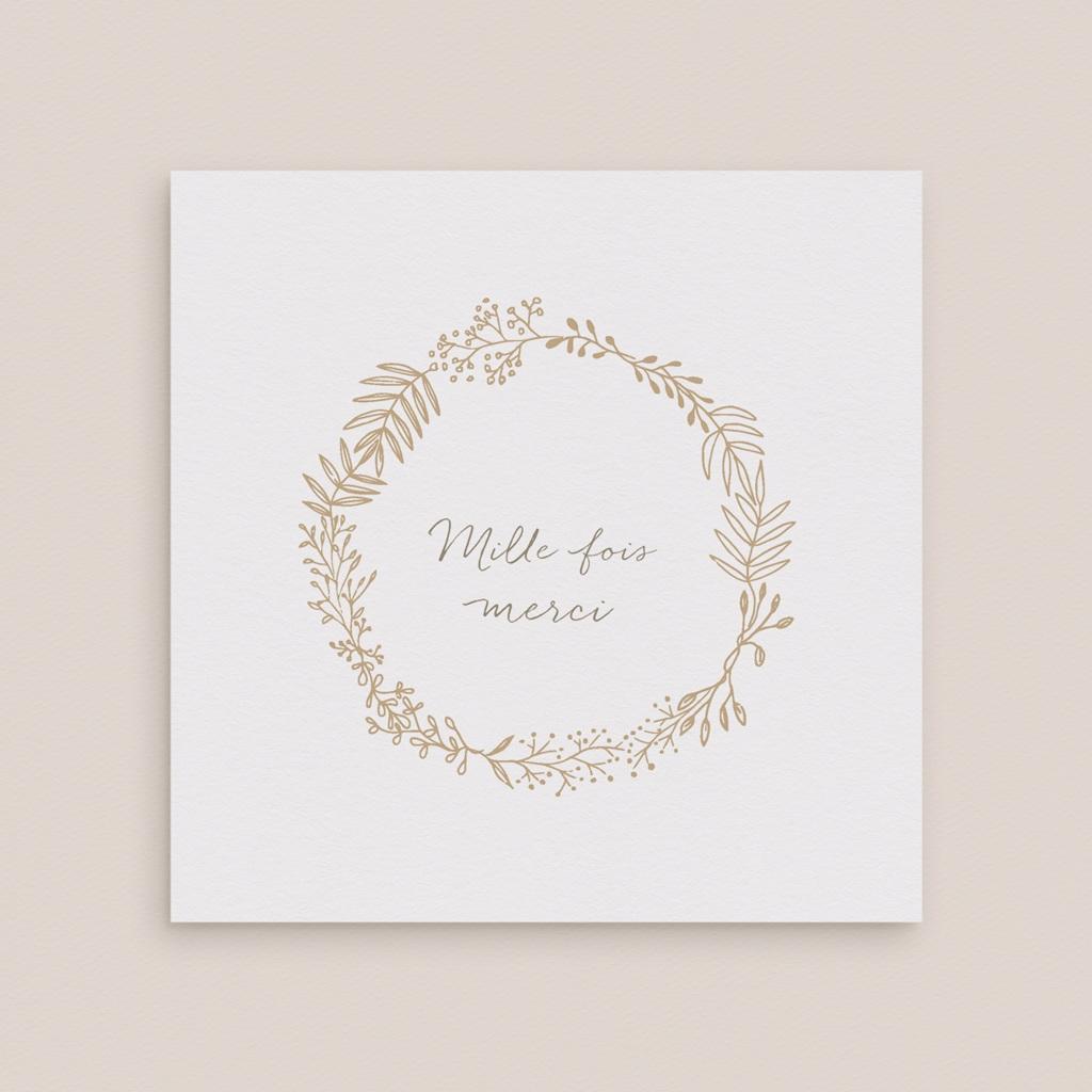 Carte de remerciement mariage Diadème Doré, 14 x 14 cm