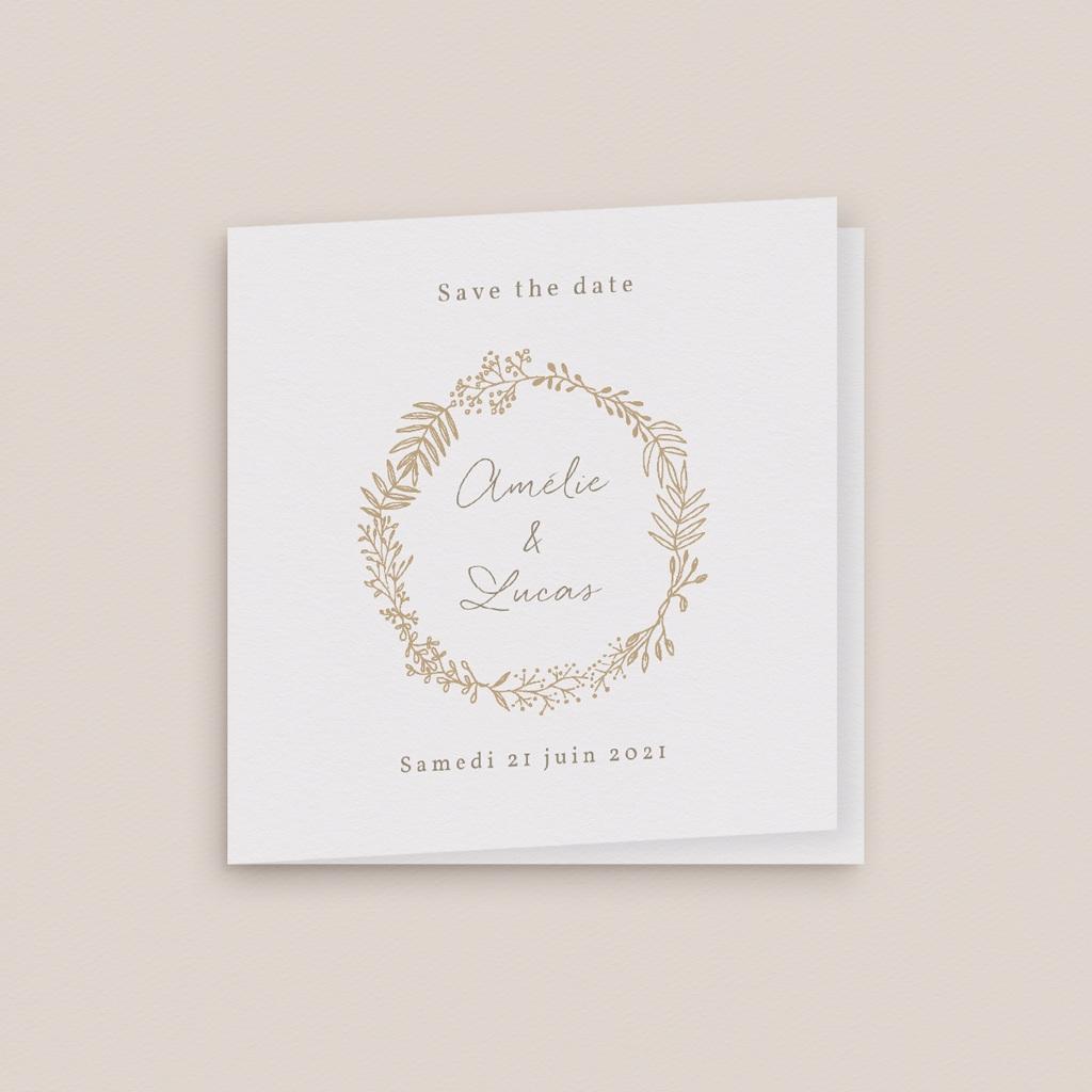 Save-the-date mariage Diadème doré, D-Day, 9,5 x 9,5 cm