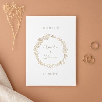 Save-the-date mariage Diadème doré, Jour J