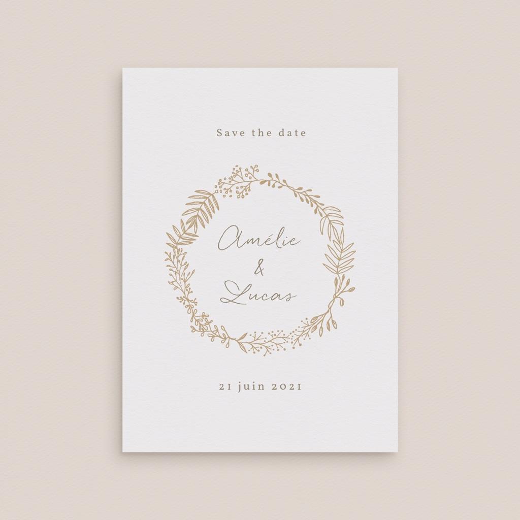 Save-the-date mariage Diadème doré, Jour J gratuit