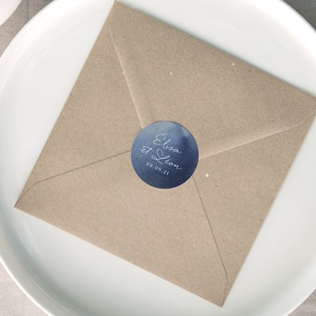 Etiquette enveloppes mariage Sous la voûte étoilée, Sticker 4,5 cm