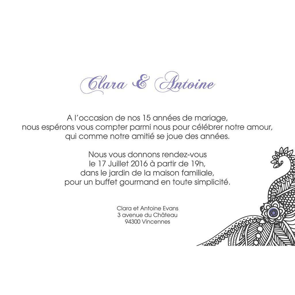 Carte anniversaire de mariage Flora améthyste  pas cher