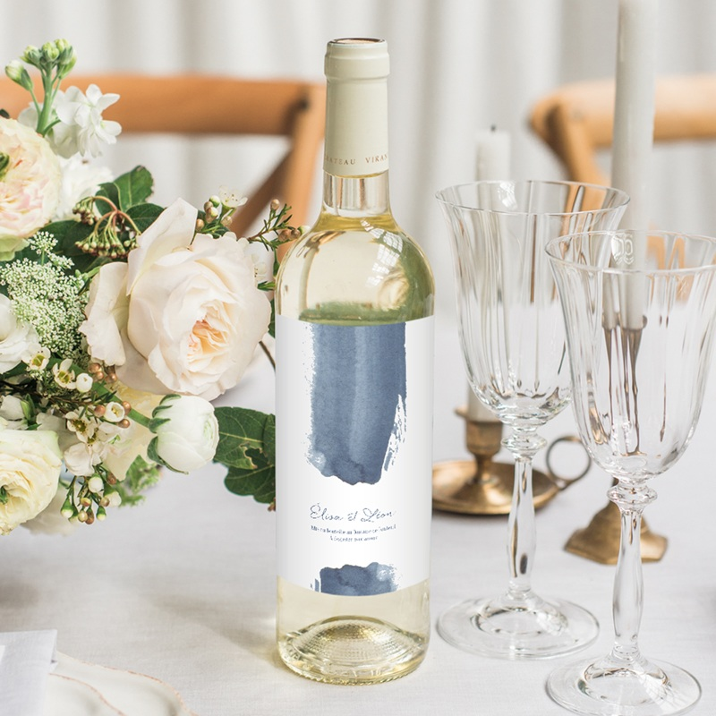 Etiquette bouteille mariage Sous la voûte étoilée, 8 x 13 cm