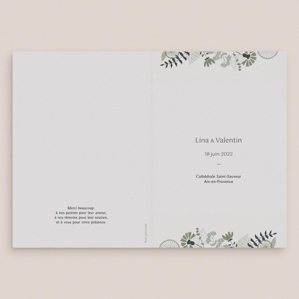 Livret de messe mariage Matcha, 15 x 22 cm gratuit