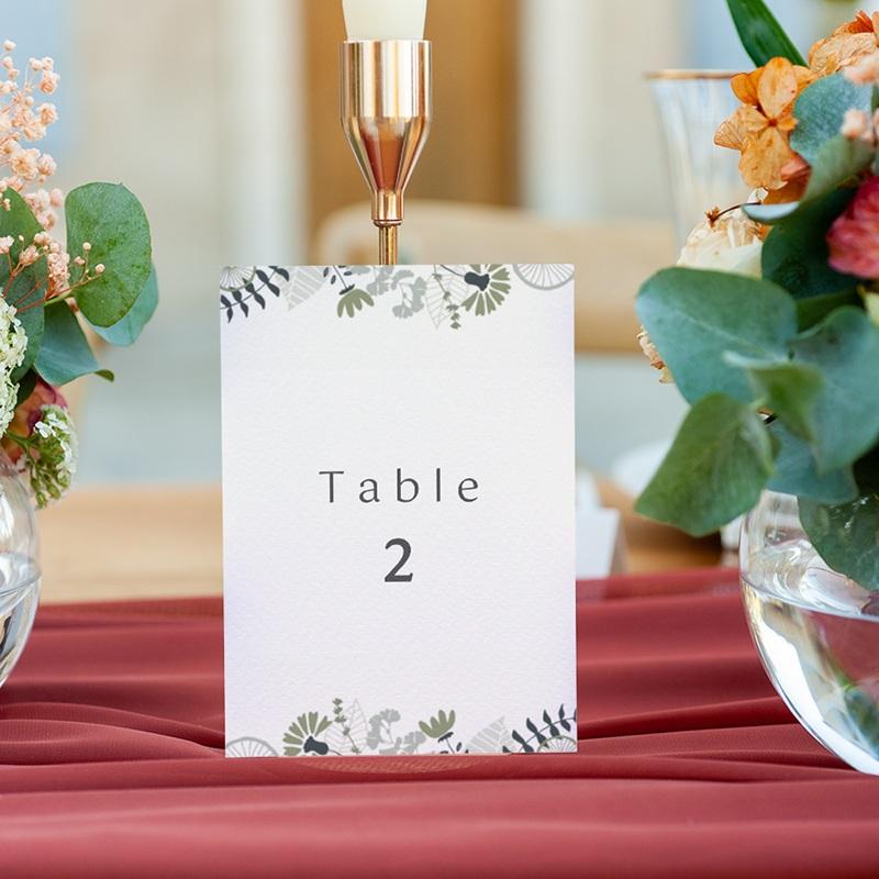 Marque table mariage Matcha, 3 repères gratuit