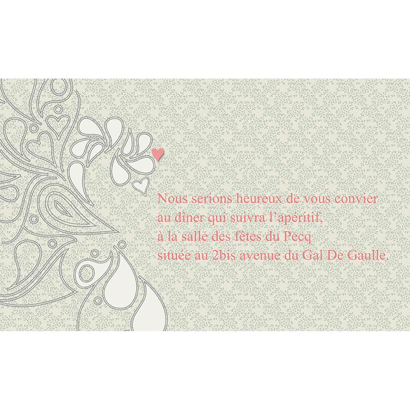 Carte d'invitation mariage Arabesque  pas cher