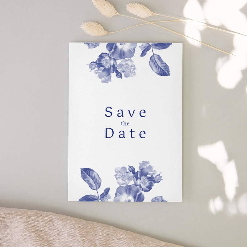 Save-the-date mariage Rhapsody, fleurs Bleues