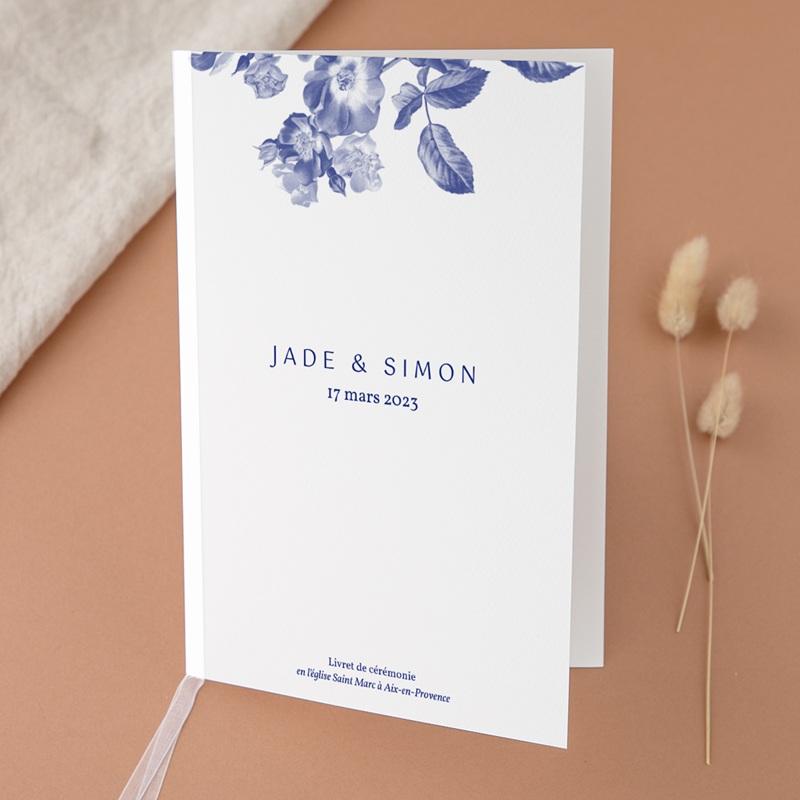 Livret de messe mariage Rhapsody, fleurs Bleues