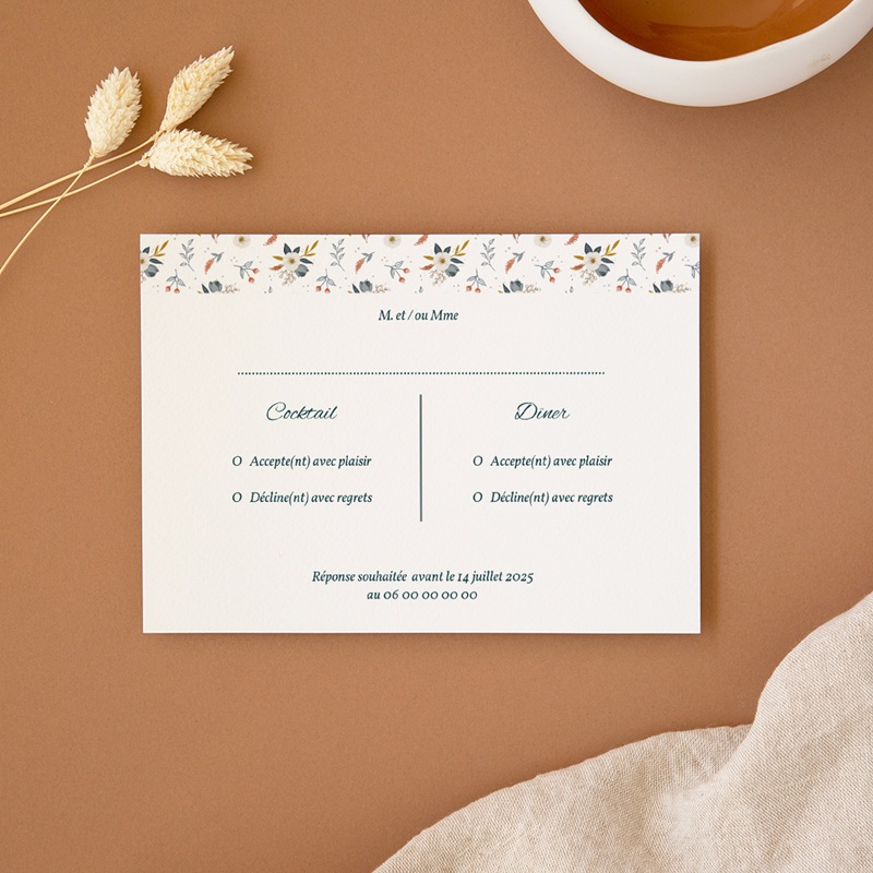 Carton réponse mariage Liberty Gris bleu, Rsvp