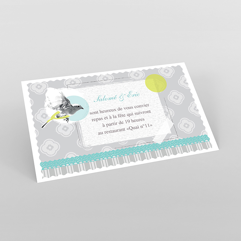 Carte d'invitation mariage Birdy