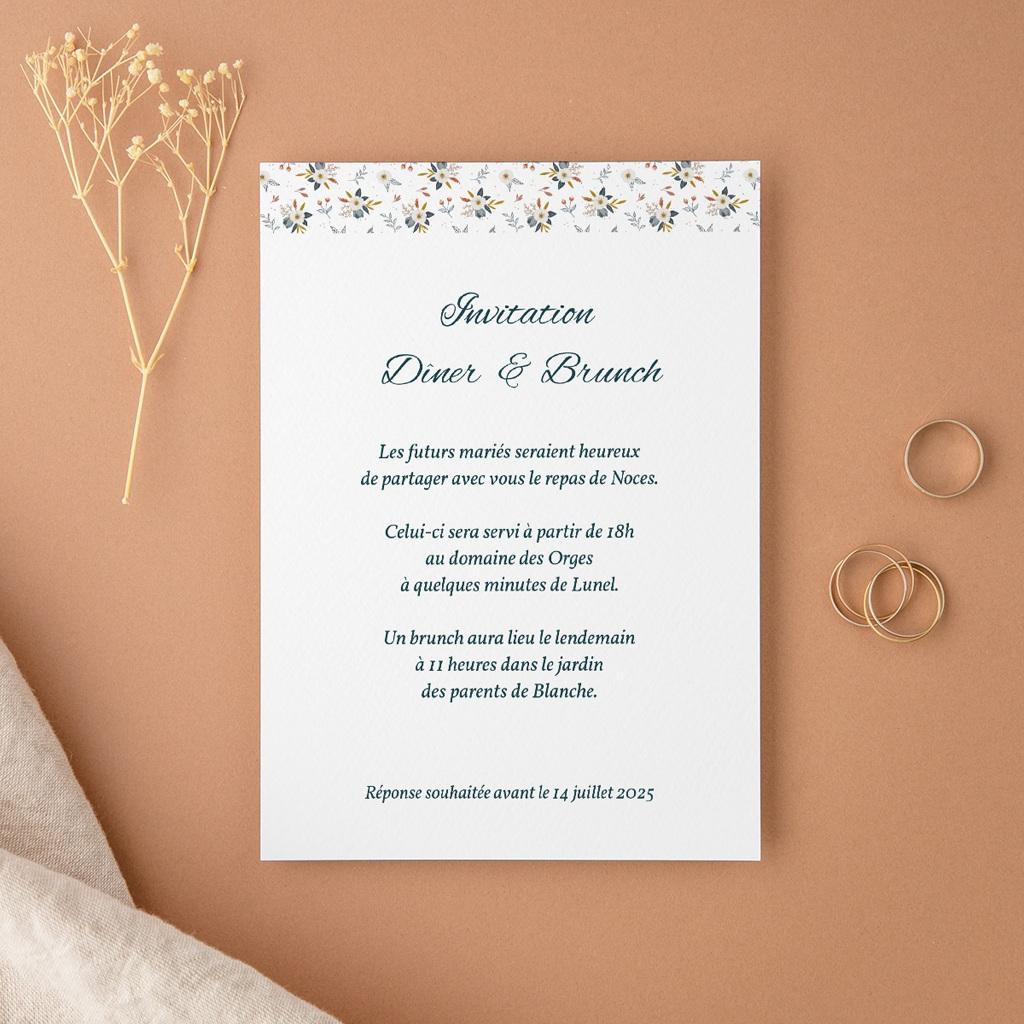 Carte d'invitation mariage Liberty Gris bleu, réception & brunch