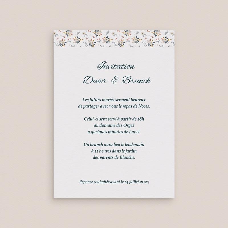 Carte d'invitation mariage Liberty Gris bleu, réception & brunch gratuit