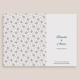 Livret de messe mariage Liberty Gris bleu, couverture gratuit