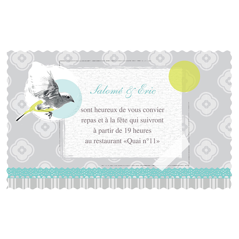 Carte d'invitation mariage Birdy  pas cher