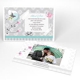 Carte de remerciement mariage Birdy