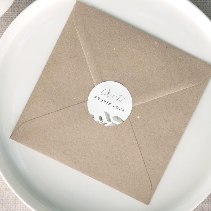 Etiquette enveloppes mariage Pastel de Fleurs & Feuillage, 4,5 cm