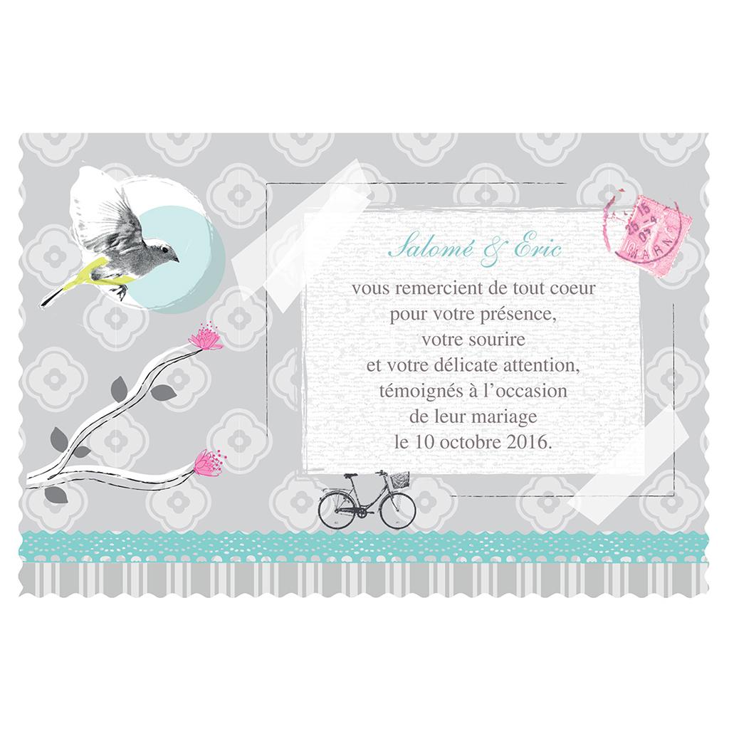 Carte de remerciement mariage Birdy  pas cher