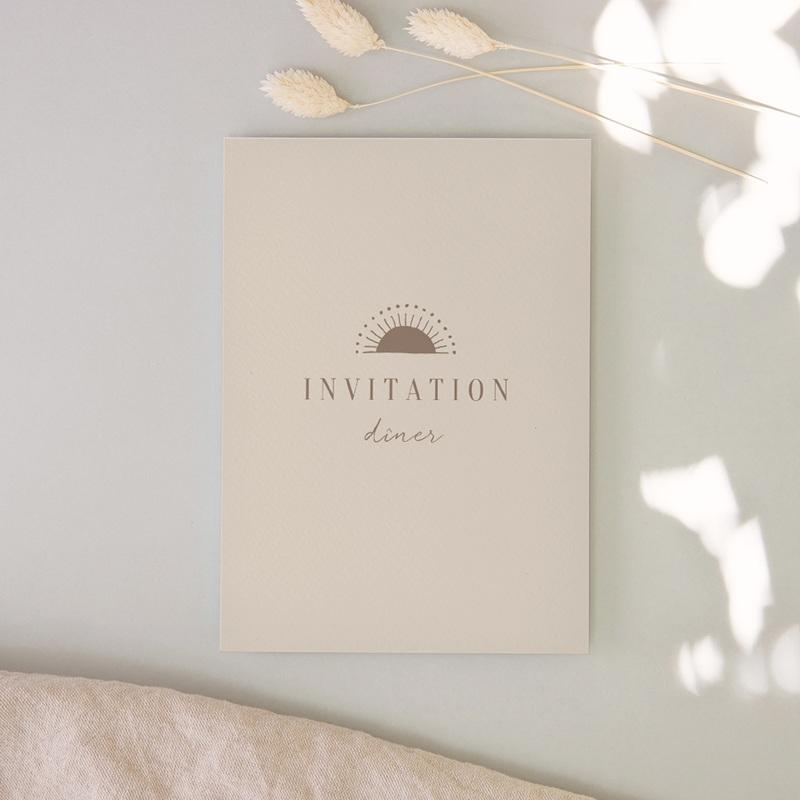 Carte d'invitation mariage Soleil de Minuit, réception