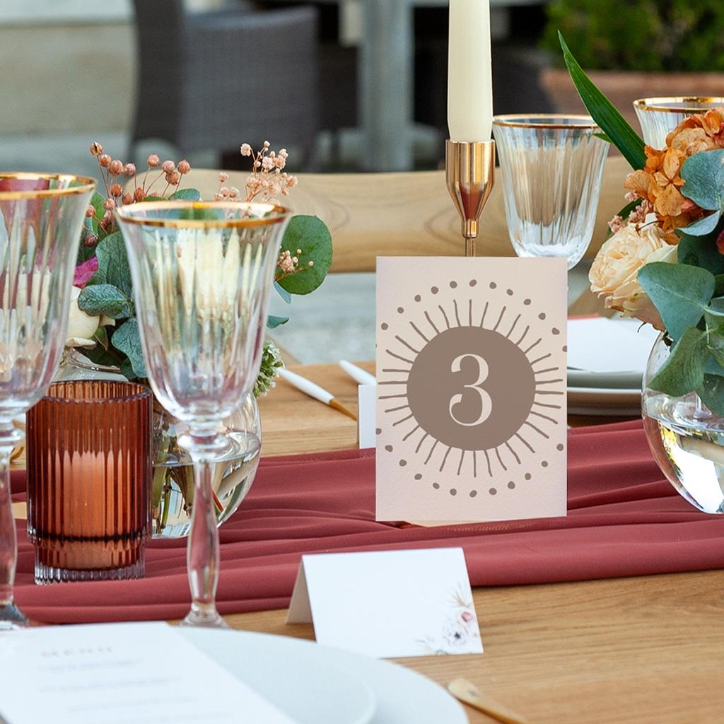 Marque table mariage Soleil de Minuit, lot de 3 repères pas cher