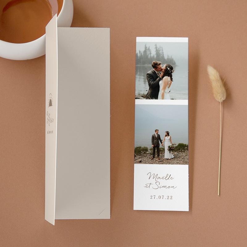 Carte de remerciement mariage Soleil de minuit, 2 en 1