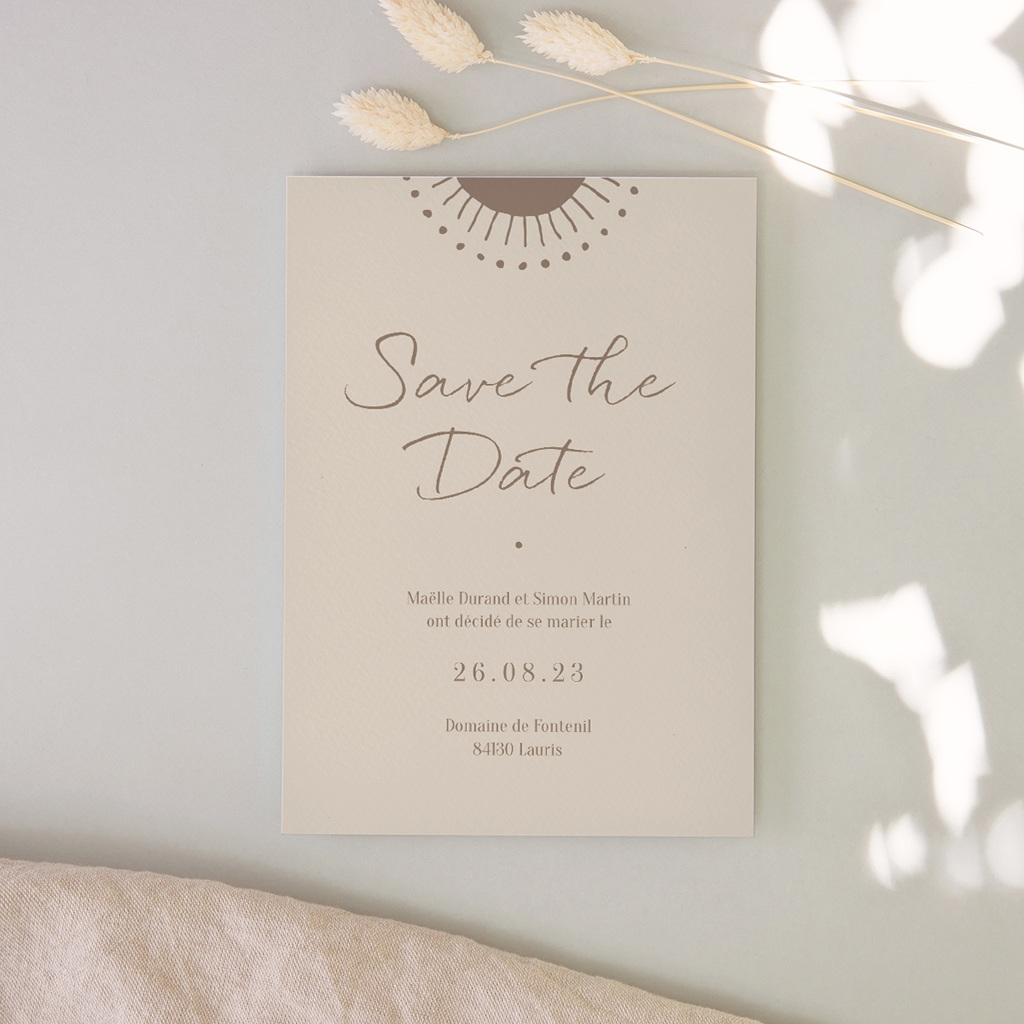 Save-the-date mariage Soleil de Minuit,  Jour J 10 x 14 cm