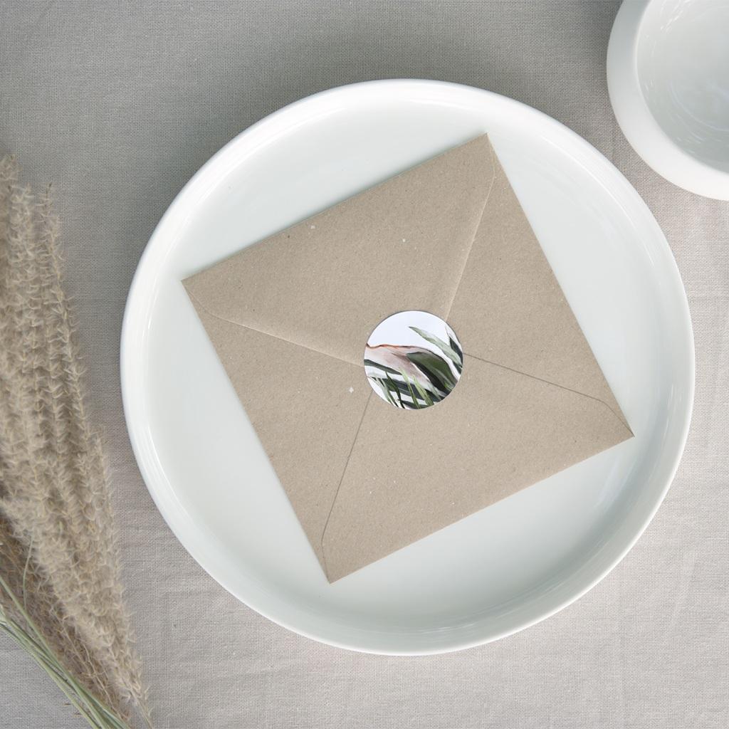 Etiquette enveloppes mariage Symétrie Végétale, Sticker correspondance