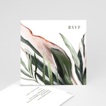Carton réponse mariage Symétrie Végétale, Rsvp Repas, 10 x 10