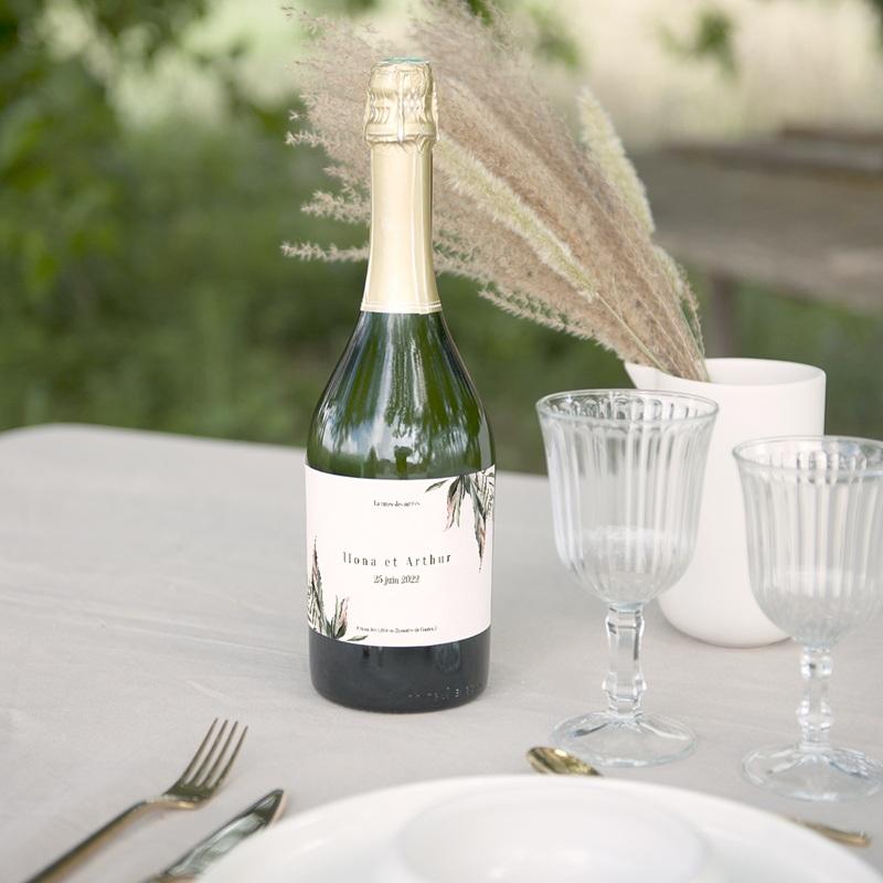 Etiquette bouteille mariage Symétrie Végétale, Champagne gratuit