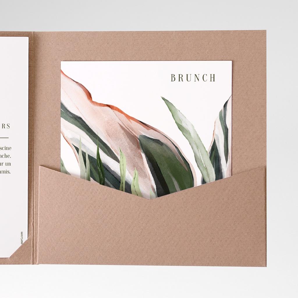 Carton réponse mariage Symétrie Végétale, Brunch, 10 x 12