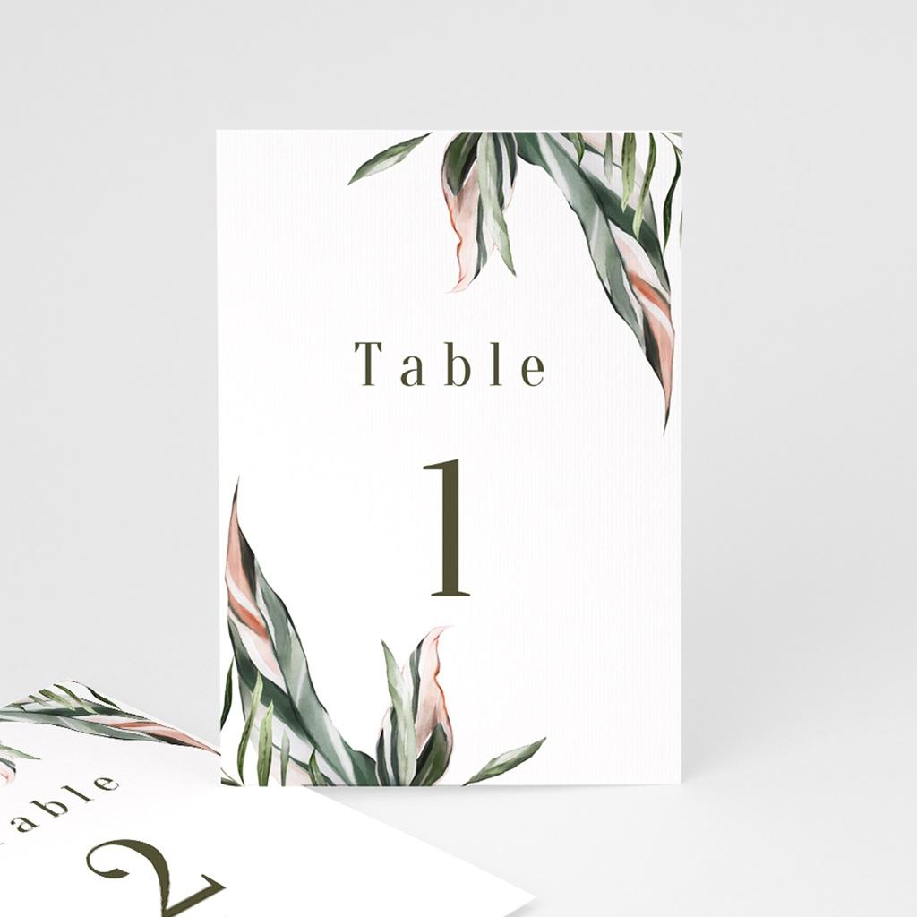 Marque table mariage Symétrie Végétale, Table numérotée