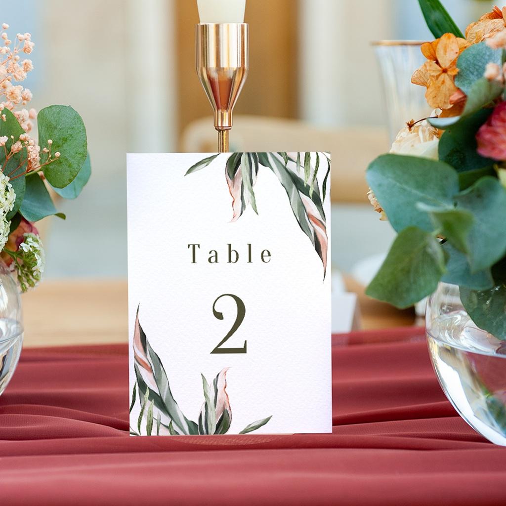 Marque table mariage Symétrie Végétale, Table numérotée gratuit
