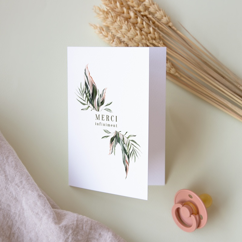 Carte de remerciement mariage Symétrie Végétale, 2 Volets, 10,5 x 15 cm pas cher