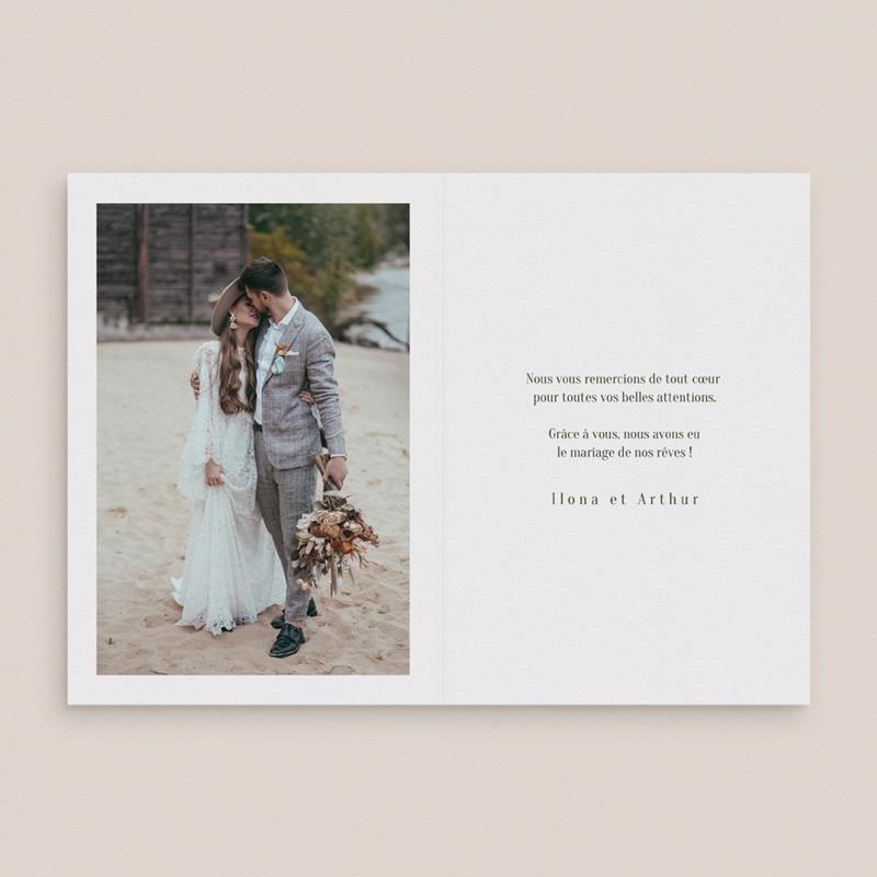 Carte de remerciement mariage Symétrie Végétale, 2 Volets, 10,5 x 15 cm