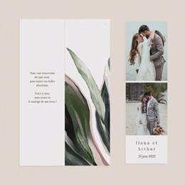 Carte de remerciement mariage Symétrie Végétale, 2 en 1 & photo pas cher