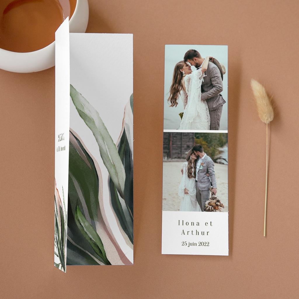Carte de remerciement mariage Symétrie Végétale, 2 en 1 & photo