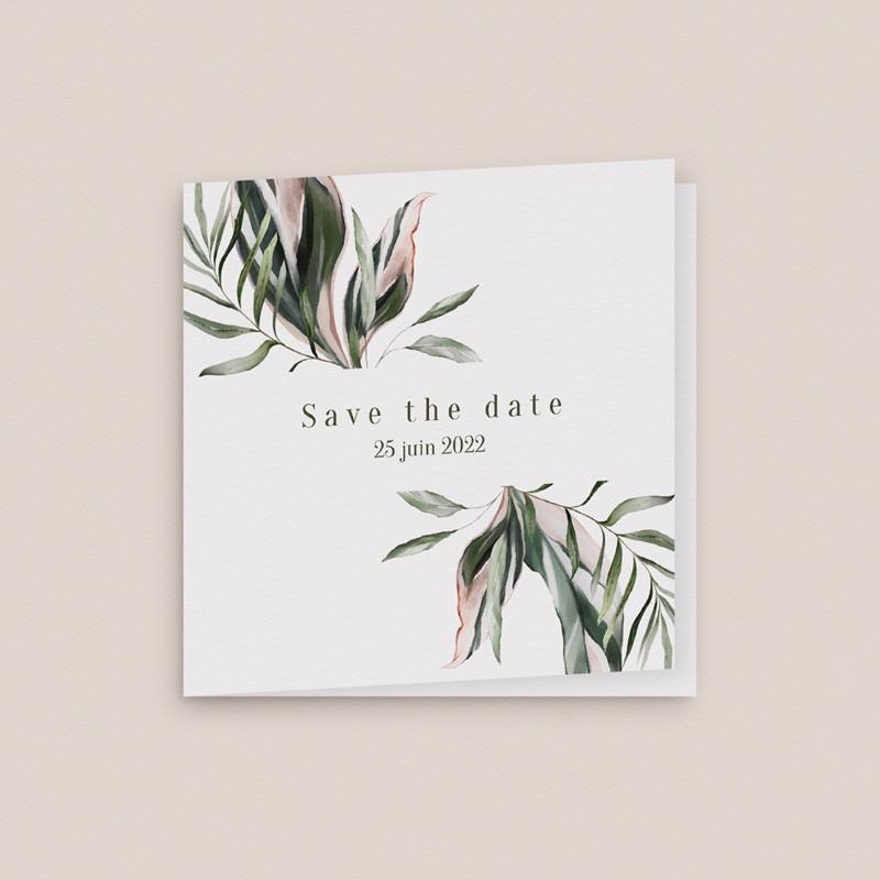 Save-the-date mariage Symétrie Végétale, 2 volets, 9,5 x 9,5 cm