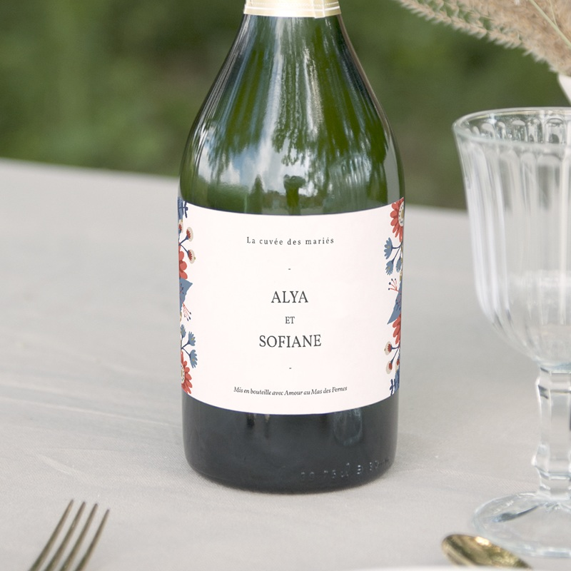 Etiquette bouteille mariage Rhapsody floral, Champagne