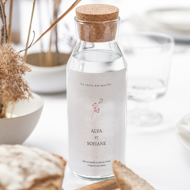 Etiquette bouteille mariage Rhapsody floral, Vin ou eau gratuit