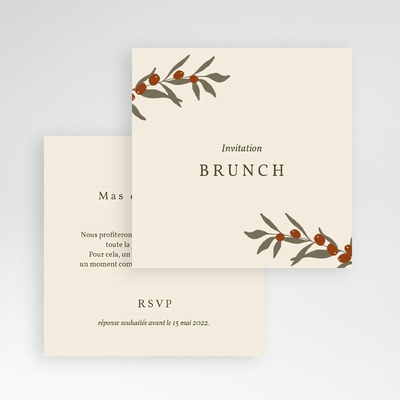 Carte invitation Brunch Rameau bohème, Brunch gratuit