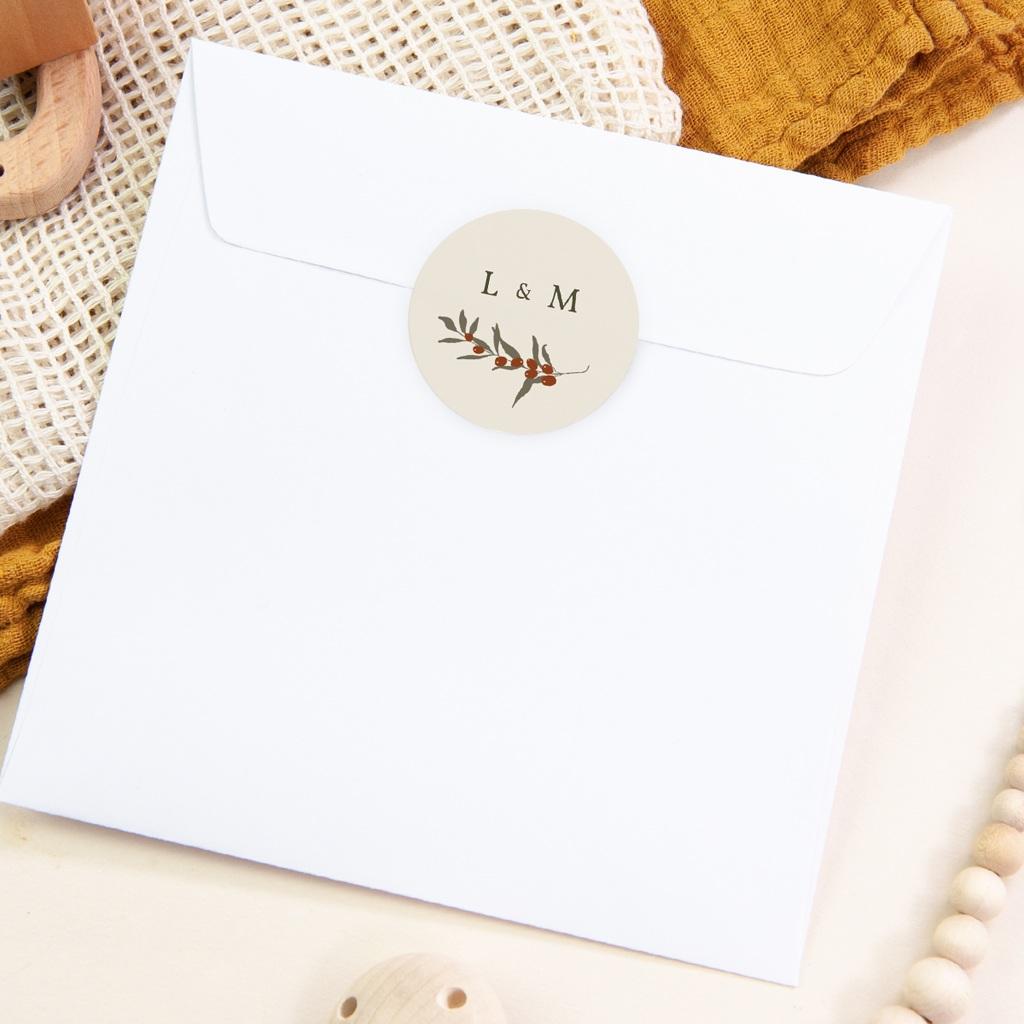 Etiquette enveloppes mariage Rameau bohème, sticker pas cher
