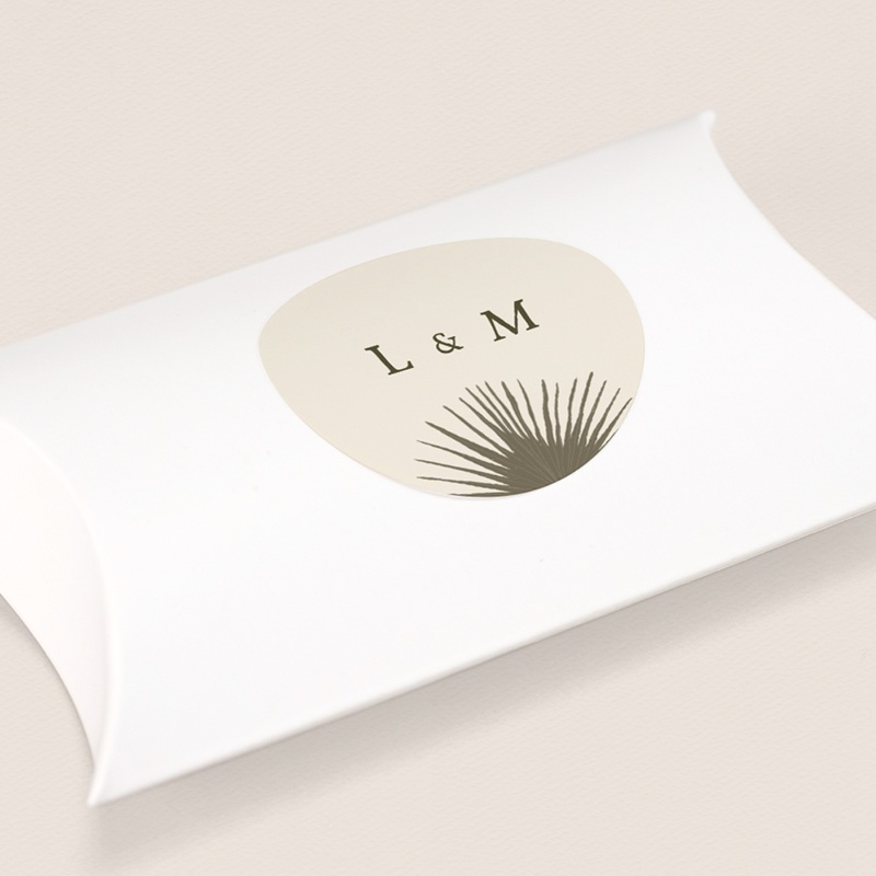 Etiquette enveloppes mariage Palme Bohème