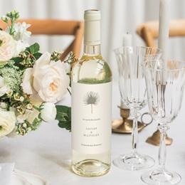 Etiquette bouteille mariage Palme Bohème