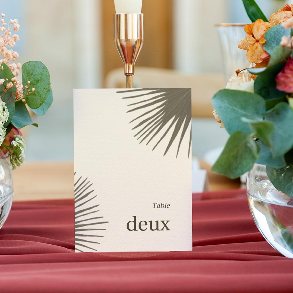 Marque table mariage Palme Bohème gratuit