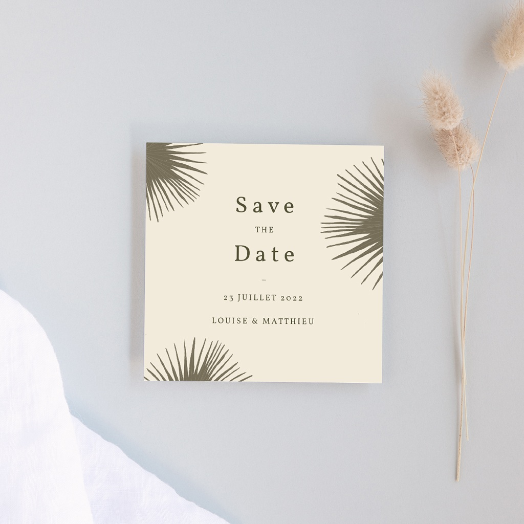 Save-the-date mariage Palme Bohème