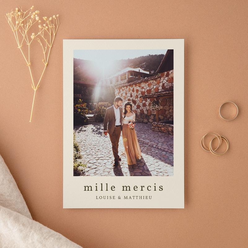 Carte de remerciement mariage Palme Bohème