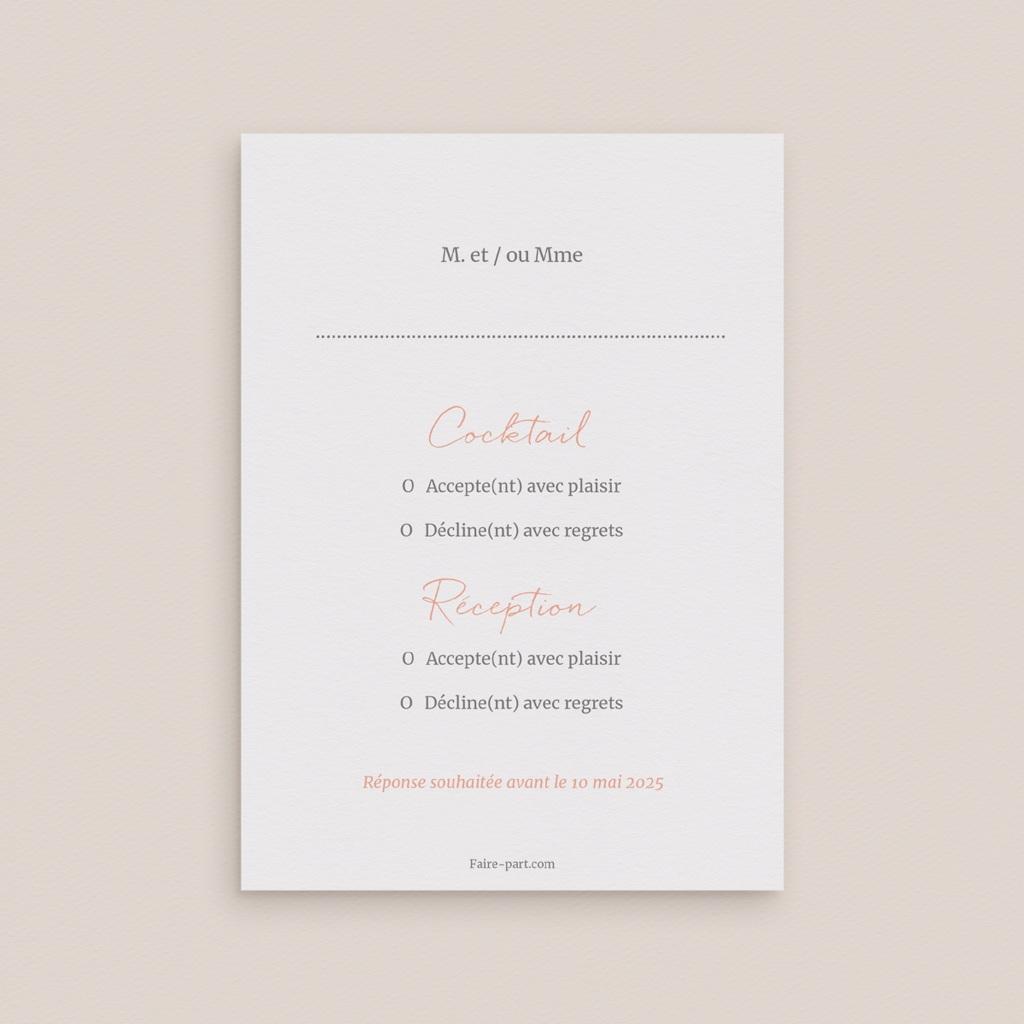 Carton réponse mariage Fleurs d'Aquarelle Kraft, Rsvp pas cher