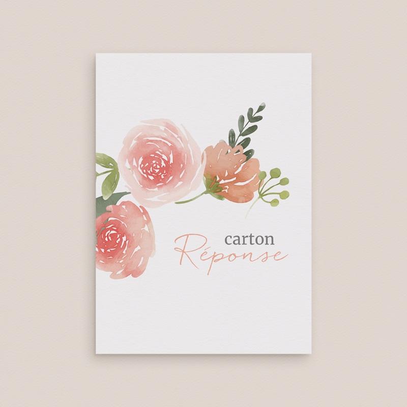 Carton réponse mariage Fleurs d'Aquarelle Kraft, Rsvp gratuit